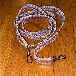 BANDOLIER woven crossbody tan & purple strap